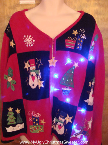 Big Size 3xl 4xl Fun Snowman Light Up Ugly Xmas Sweater