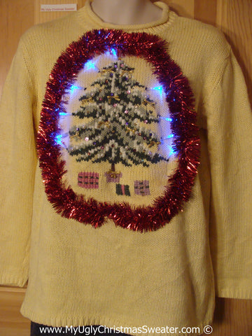 Tacky Xmas Sweater with Lights Huge Tree and Red Garland (g171)