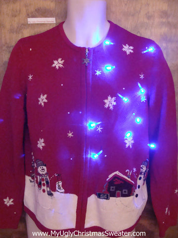 Country Snowy Cabin Snowman Light Up Ugly Xmas Sweater