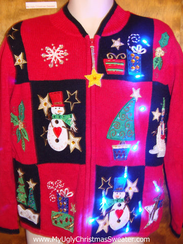 Patchwork Snowman and Trees Light Up Ugly Xmas Sweater