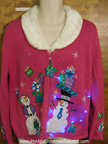 Pink Light Up Ugly Xmas Sweater with Furry Collar