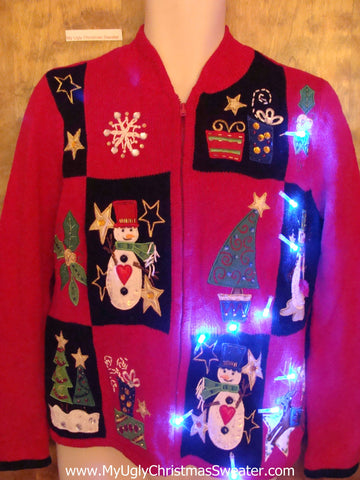 Patchwork Trees and Snowman Light Up Ugly Xmas Sweater