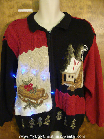 Sleigh and Cabin Theme 80s Light Up Ugly Xmas Sweater