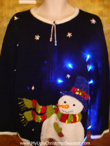 Best Happy Snowman Light Up Ugly Xmas Sweater