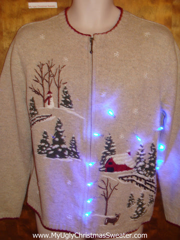 Snowy Cozy Red Barn Light Up Ugly Xmas Sweater