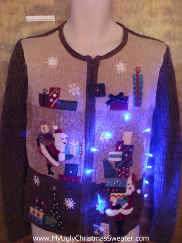 Santa Stacking Gifts Brown Light Up Ugly Xmas Sweater