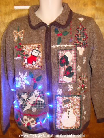Corny Brown Knit with Reindeer Light Up Ugly Xmas Sweater
