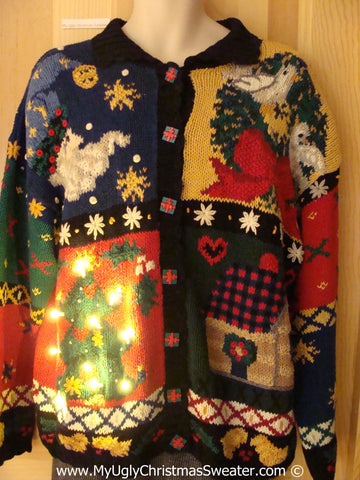 Tacky Xmas Sweater with Lights Horrid Busy 2sided (g172)