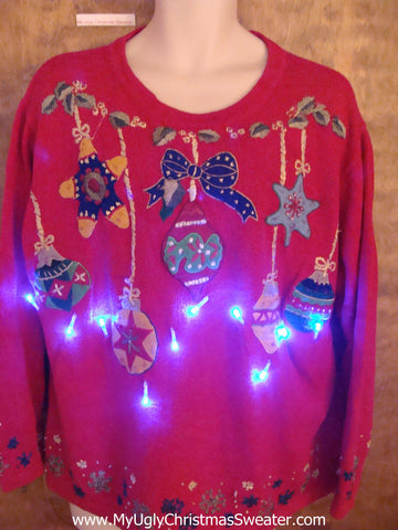 Colorful Ornaments Light Up Ugly Xmas Sweater