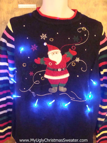 Best Happy Santa Light Up Ugly Xmas Sweater