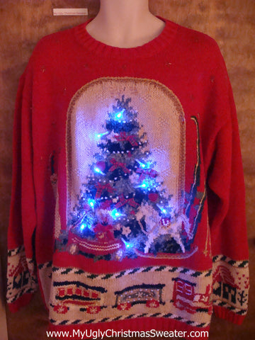 Toys and Train 80s Light Up Ugly Xmas Sweater