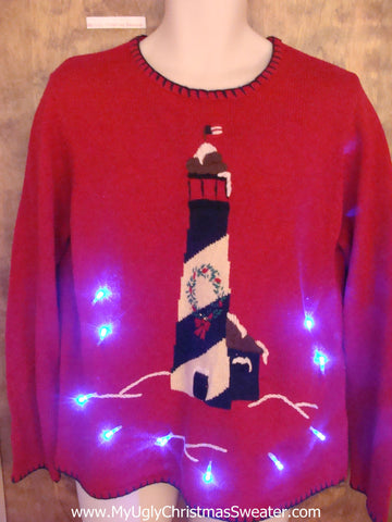 Lighthouse Beach Themed Light Up Ugly Xmas Sweater