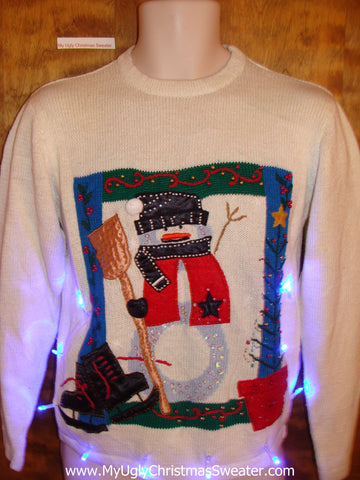 Cozy Snowman with Skates Light Up Ugly Xmas Sweater