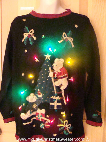 Tacky Xmas Sweater with Lights Bears and Tree (g173)