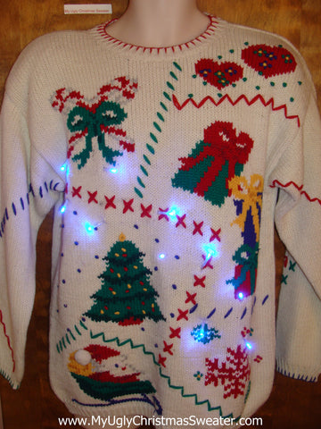 Patchwork Crafty 80s Light Up Ugly Xmas Sweater