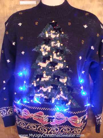 Blue 80s Pullover with Tree and Bows Light Up Ugly Xmas Sweater