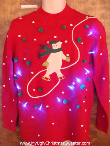 Funny Skating Bear Light Up Ugly Xmas Sweater