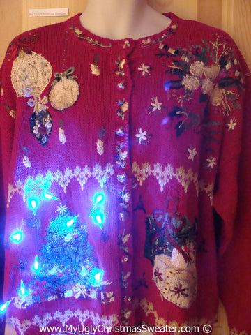 Tacky Red Xmas Sweater with Lights 80s Tree (g174)