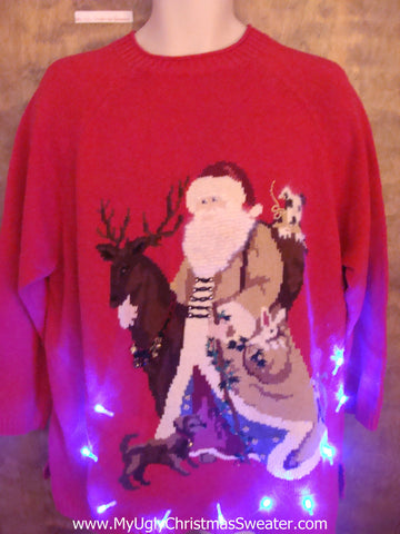 BEST Santa Riding Reindeer Light Up Ugly Xmas Sweater