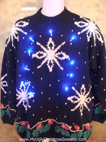 Massive Snowflakes Awesome Light Up Ugly Xmas Sweater