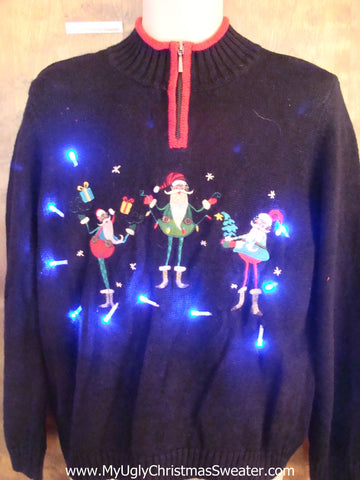 Funny Skinny Elves Light Up Ugly Xmas Sweater
