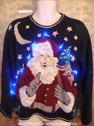 Naughty Look Santa Light Up Ugly Xmas Sweater