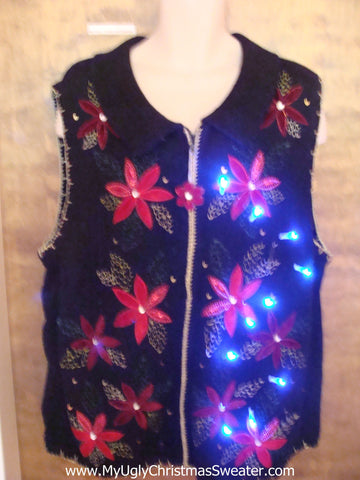 Cheesy Red Poinsettias Light Up Ugly Xmas Sweater Vest