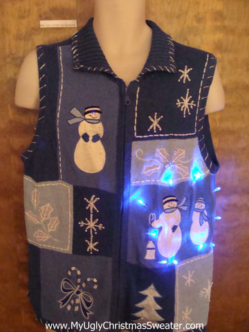 Blue Patchwork Snowman Light Up Ugly Xmas Sweater Vest