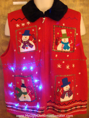 Snowman Light Up Ugly Xmas Sweater Vest with Furry Collar