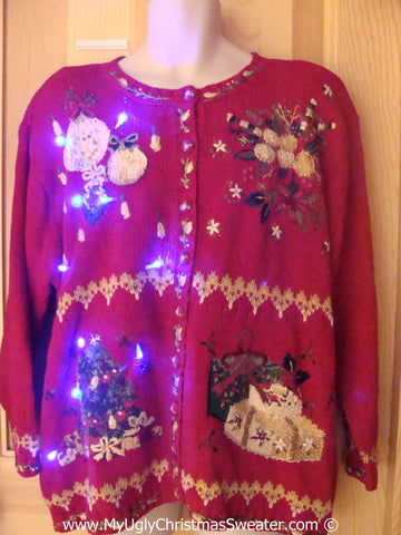 Tacky Xmas Sweater with Lights 80s Padded Shoulders (g176)