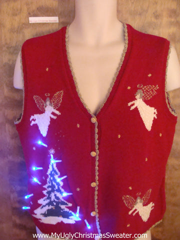 Flying Angels and Tree Light Up Ugly Xmas Sweater Vest