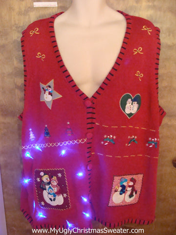 Red Crafty Embroidery Light Up Ugly Xmas Sweater Vest