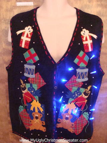 Stacked Bear, Nutcracker and Gifts Light Up Ugly Xmas Sweater Vest