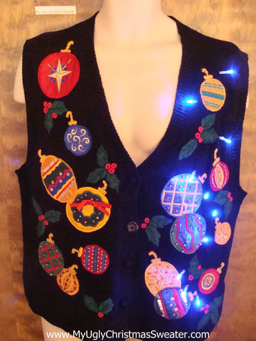 Crazy Colorful Ornaments Light Up Ugly Xmas Sweater Vest