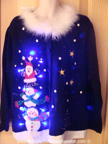Fluffy Collar Holy Grail Tacky Xmas Sweater with Lights (g177)