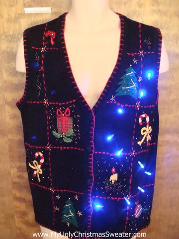Candy Canes and Trees Light Up Ugly Xmas Sweater Vest