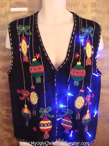 Crazy Tacky Colorful Ornaments Light Up Ugly Xmas Sweater Vest