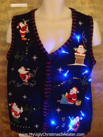 Santa Clones Working Light Up Ugly Xmas Sweater Vest