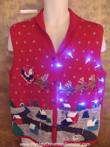 Santa and Reindeer Team Light Up Ugly Xmas Sweater Vest