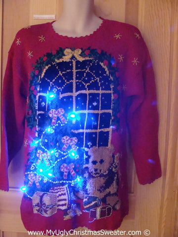Tacky Xmas Sweater with Lights Bear Tree 80s (g178)