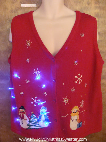 Snowman Party in Snow Light Up Ugly Xmas Sweater Vest
