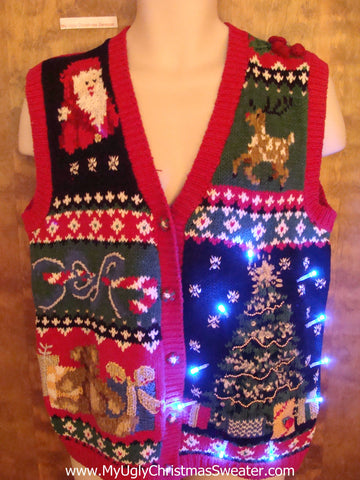 Busy 80s Light Up Ugly Xmas Sweater Vest with Tree