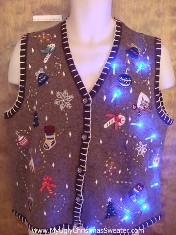 Ridiculous Brown Light Up Ugly Xmas Sweater Vest