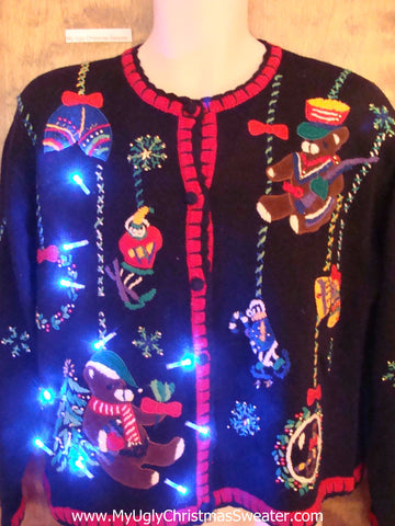 Bear Themed 80s 2sided Light Up Ugly Xmas Sweater