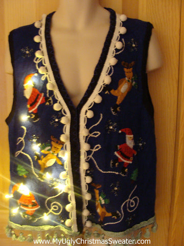 Tacky Ugly Christmas Sweater Vest with Lights and Fringe. Santa and Reindeer Skating (g17)