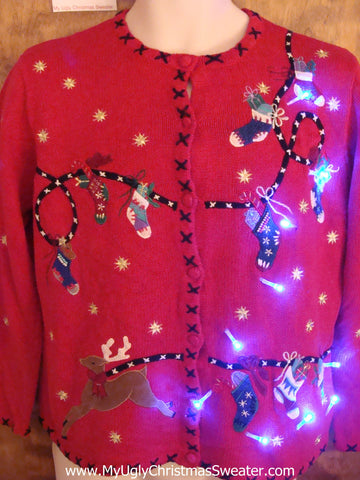 Flying Reindeer 2sided Cute Christmas Sweater with Lights