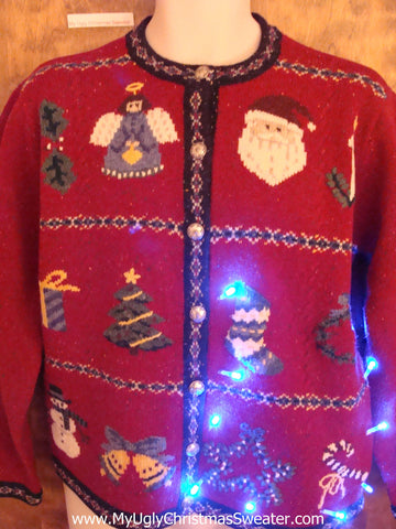 Random Decoations on a Cute Christmas Sweater with Lights