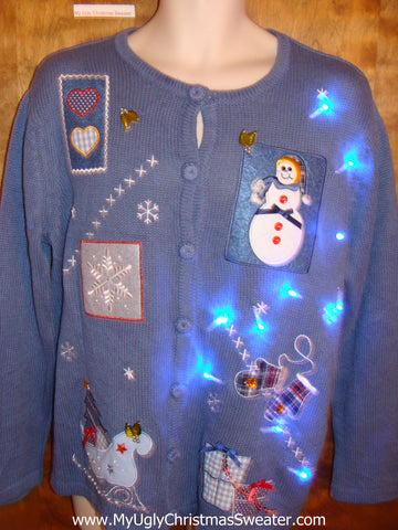Blue Cardigan Cute Christmas Sweater with Lights