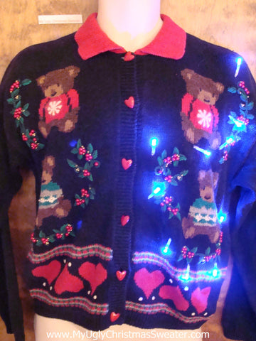 Teddy Bear Party Cute Christmas Sweater with Lights
