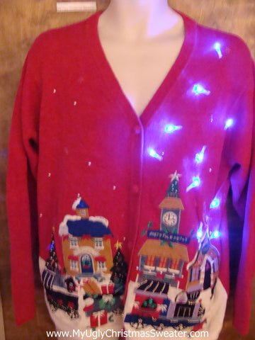 Sleepy Winter Town Cute Christmas Sweater with Lights